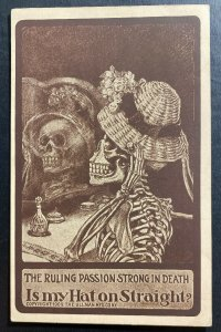 Mint Usa Picture postcard Skull Is My Hat Straight ?