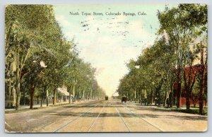 Colorado Springs Colorado~North Tejon Street~Residential Area~1909 Postcard