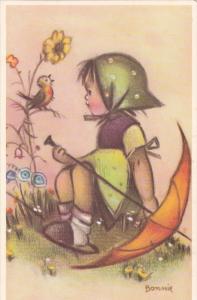 BONNIE: Girl in Grass w/ Umbrella Watching Robin Singing on Flower