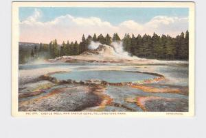 ANTIQUE POSTCARD NATIONAL STATE PARK YELLOWSTONE CASTLE WELL AND CASTLE CONE