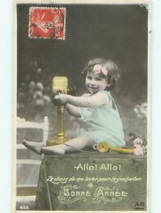 tinted rppc c1910 CHILD WITH ANTIQUE TELEPHONE AC9008