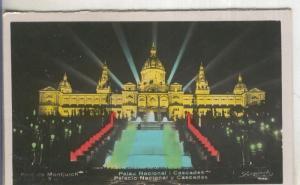 Postal  coloreada de epoca  0142 : Palau Nacional y Cascades de Barcelona