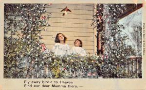BIRD TO HEAVEN-FIND OUR DEAR MAMMA-DECEASED MOTHER-POSTCARD 1908 PMK TECUMSEH OK