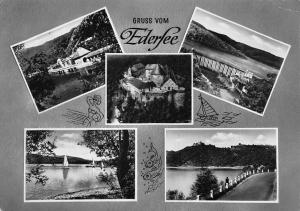 Gruss vom Edersee multiviews Sperrmauer Schloss Waldeck Castle Road Lake
