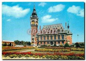 Modern Postcard Calais Calais Hotel de Ville and gardens Flowers