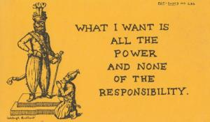 What I Want Is All The Power None Of The Responsibility Crazy Proverb Postcard