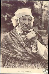 France, Old Pipe Smoking Woman, Costumes (1920s)