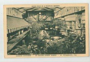 Postcard ~ St Pete Petersburg Fl ~ Garden Cafeteria ~ 232 2nd Street North