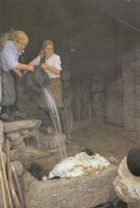 Portugal Women Crafts Pouring Hot Water On The Wool Postcard
