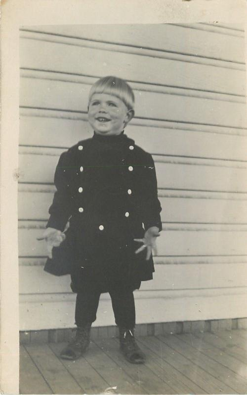 Blond-Haired Merrill w/Bowl Cut Haircut and Big Grin~Shows His Hands~RPPC c1913