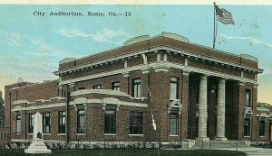 Postcard Early View of City Auditorium in Rome, GA.   .  R2