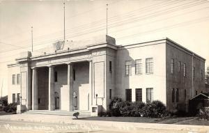 Crescent City California~Memorial Building~Tall Columns in Front~1940s RPPC