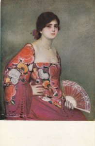 Woman portrait , 1900-10s ; #44A ; Artist Signed Ramon Casas