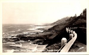 Oregon Coast Highway Coastline North from Cape Perpettua Real Photo