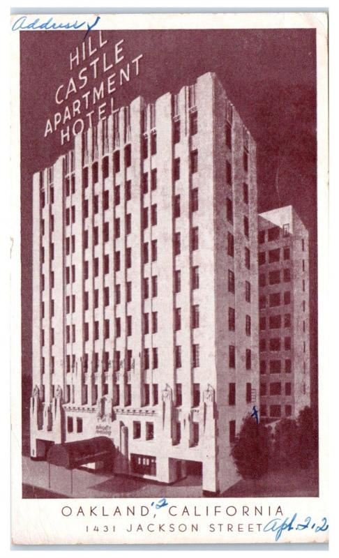 1951 Hill Castle Apartment Hotel Oakland Ca Postcard