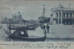 VENEZIA, Veneto, Italy; Molo dal Rio della Paglia, Gandolas, PU-1900