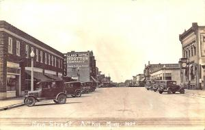 Atkin MN Street View Store Fronts Old Cars Bank Clock Real Photo RPPC Postcard