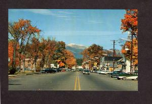 NH North Conway New Hampshire Main St Street Old Cars Mt Washington Postcard
