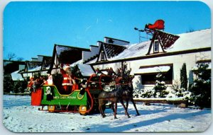 1950s SANTA CLAUS, Indiana Postcard Sleigh & Reindeer Roadside Dexter Chrome