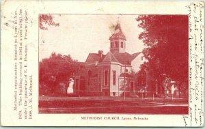 Lyons, Nebraska Postcard METHODIST CHURCH Building View / 1908 NEB. Cancel