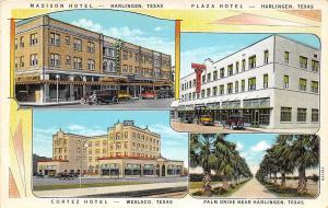 C48/ Harlingen Texas Tx Postcard c1930 4View Madison Hotel Plaza Autos Weslaco