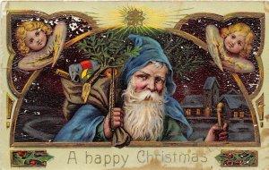 G28/ Santa Claus Christmas Postcard c1910 Blue Suit Angels Star 20