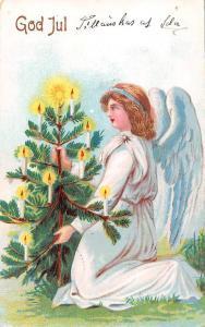 God Jul! Merry Christmas Tree, Beautiful Woman Angel