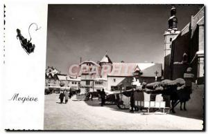 Postcard Modern Megeve Place of & # 39eglise and sleds