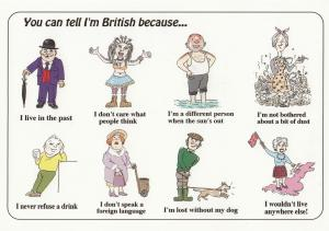 I'm British Because I Dont Care Sunbathe Get Drunk Comic Humour Postcard