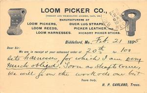 Biddeford ME Loom Picker Co. Duck Lug Straps Saco ME 1895 Postcard