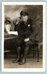 Postcard IN Indianapolis Motorcycle Police Officer L Taylor RPPC Photo 1940s T5