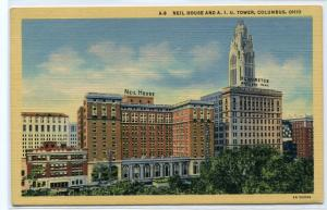 Neil House AIU Tower Columbus Ohio linen postcard