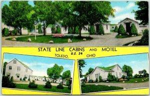 Toledo, Ohio Postcard STATE LINE CABINS & MOTEL Highway 24 Roadside Linen c1940s