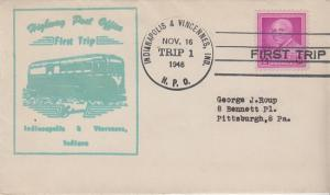 FIRST TRIP HIGHWAY POST OFFICE mail between Indianapolis & Vincennes, IN 1948