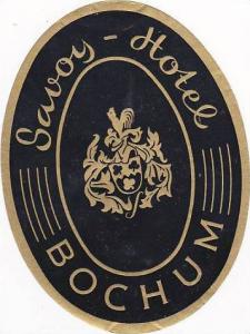 GERMANY BOCHUM SAVOY HOTEL VINTAGE LUGGAGE LABEL