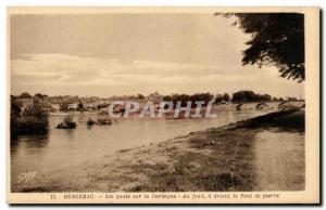 Old Postcard Bergerac docks on the Dordogne At the bottom right the stone bridge