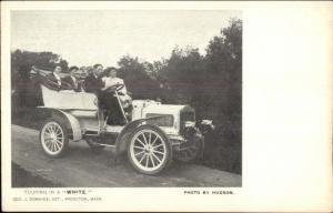Touring in a White Autobile Car c1906 Brockton MA Area Postcard