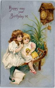 Vintage WINSCH Birthday Embossed Postcard Girls Watching Cuckoo Clock 1909