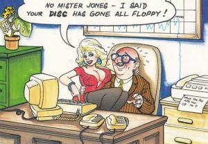 Floppy Disc Secretary Computer Mans Private Parts Growing Comic Humour Postcard