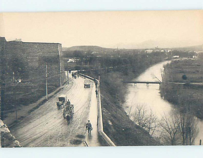 Unused Old Postcard ROAD ALONG THE RIVER Pamplona Spain F5400