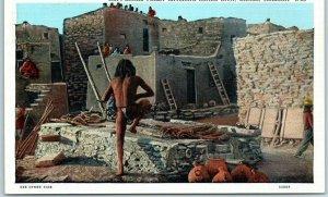 Oraibi, Arizona Postcard Hopi Snake Priest Entering Snake Kiva Curteich c1930s