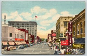 Albuquerque New Mexico~Central Avenue @ Fourth~Juddweitz~Woolworth~1947 Linen PC