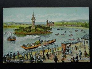Manchester BELLE VUE Zoological Gardens LAKE & ISLAND CLOCK TOWER c1905 Postcard