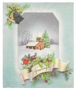 VINTAGE 1940s WWII ERA Christmas Greeting Card Art Deco FOIL BELL Sleigh CHURCH