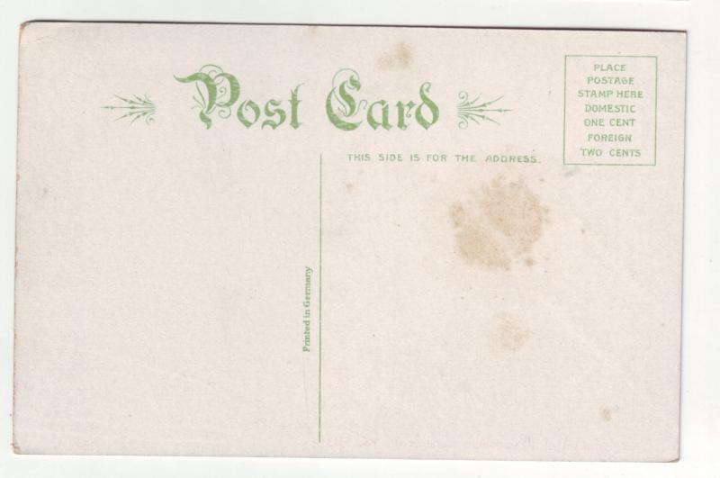 P1189 old postcard unused history baptism pocahontas jamestown virginia #1613