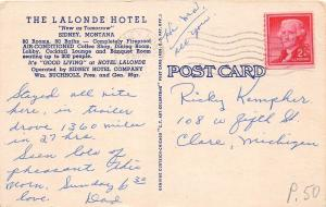C76/ Sidney Montana Mt Postcard 1937 Linen The Lalonde Hotel Building