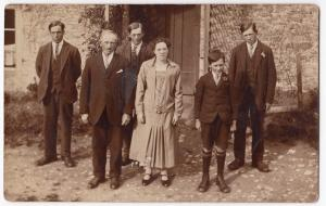 Social History, Anonymous Family Group In Front of House RP PPC, c 1920's