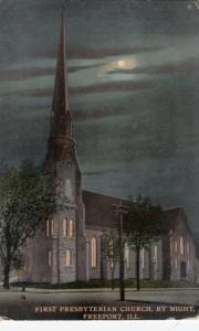 FREEPORT, Illinois,  PU-1911; First Presbyterian Church, By Night