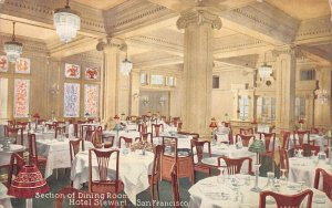 Dining Room, Hotel Stewart, San Francisco, California, early postcard, unused