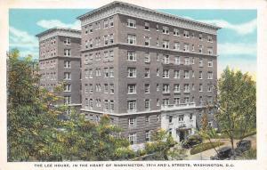 Washington, D.C.   THE LEE HOUSE-15th & L Streets     Roadside c1920's Postcard